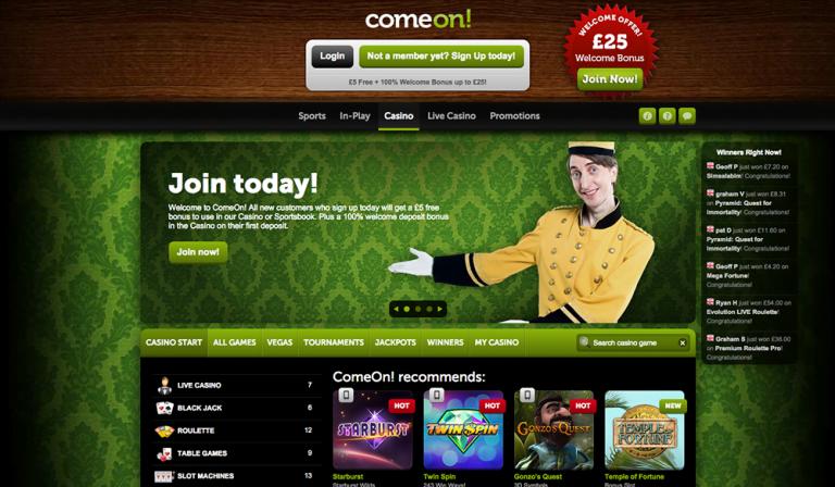 Comeon Casino No Deposit Bonus